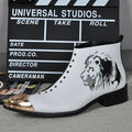 New Genuine Leather Tiger Printed Men White Ankle Boots Iron Pointed Toe Mens Formal Dress Shoes Military Cowboy Botas Masculina