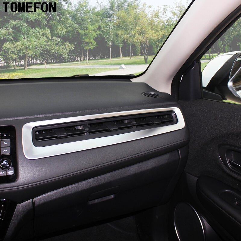 TOMEFON Carbon Fiber For Honda Vezel 2015 2016 2017 ABS Matte Copilot Right Air AC Vent Frame Trim Interior Styling Accessories