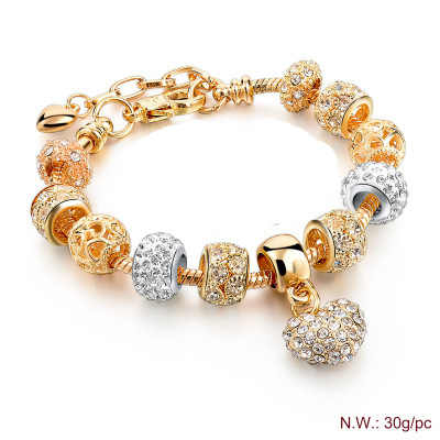 The female charm of style restoring ancient ways 14 k heart bracelet beads bracelet DIY craft hand jewelry gifts