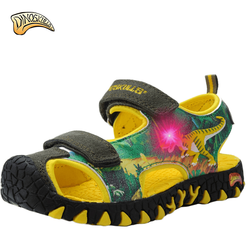 Boys Children's Shoes Dinoskulls Kids Summer Shoes 3d Dinosaur Light Up Boys Sandals Led Leather Beach Shoes Non-slip Tenis Toddler Children Shoes