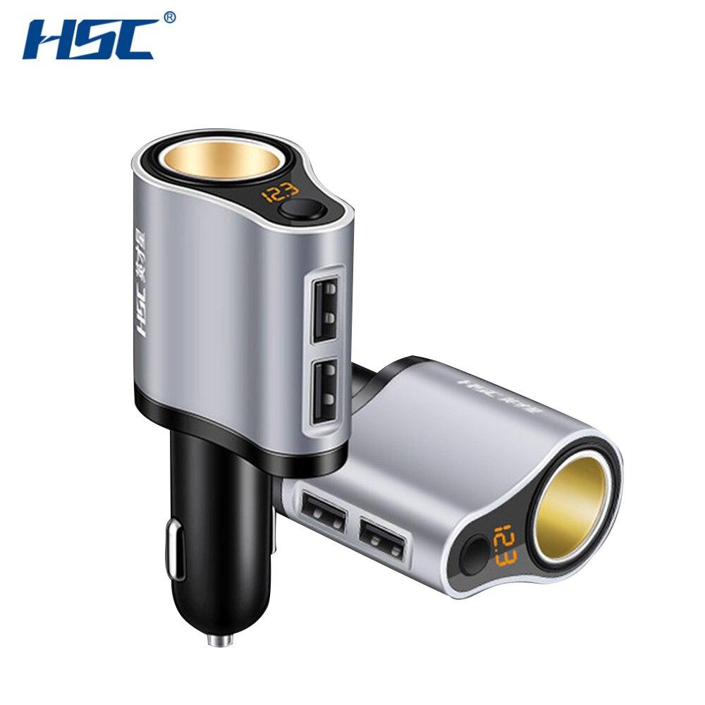 HSC HSC-119A 100W 3.1A Dual USB Car Charger Mini Car Charger USB Cigarette Lighter Socket Splitter 12V-24V Power Adapter New Hot