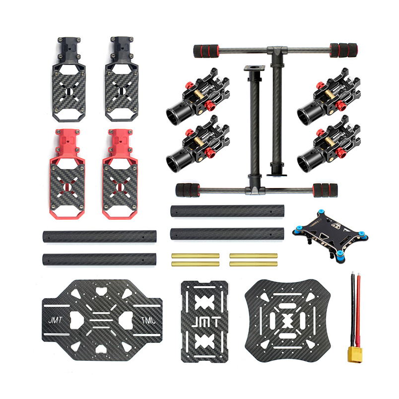 JMT X4 560mm Carbon Fiber Umbrella Foldable Frame with Foldable/ Non foldable Landing Skid for RC Helicopter