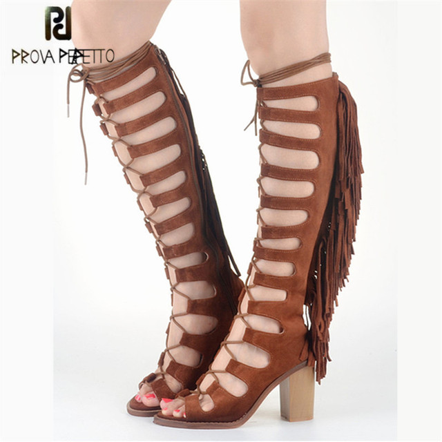 07ef165b76b Prova Perfetto Suede Lace Up Tassels Women Gladiator Sandals Hollow Out  Chunky High Heel Summer Boots Fringed Knee High Boots