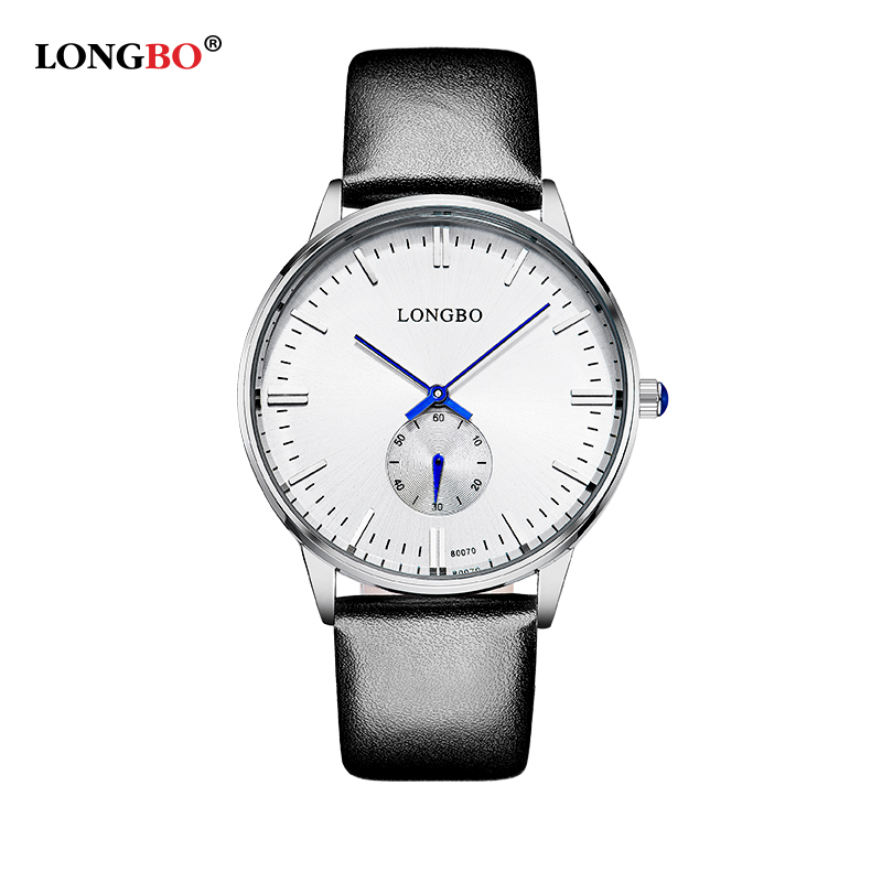 LongBo Fashion Lovers Watches Men Women Wristwatch Business Leather Quartz Wrist Watch Gift for Lovers Couple Black Color