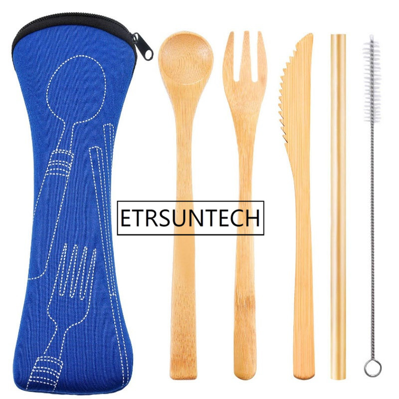 50sets Reusable Bamboo Straw Spoon Fork Knife With Clean Brush Cloth Bag Wedding Party Drinking Straw