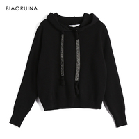 BIAORUINA Women Classic All match Casual Knitted Sweatshirt Female Fashion Vintage Hoodies Chic Sash Women's All match Pullovers