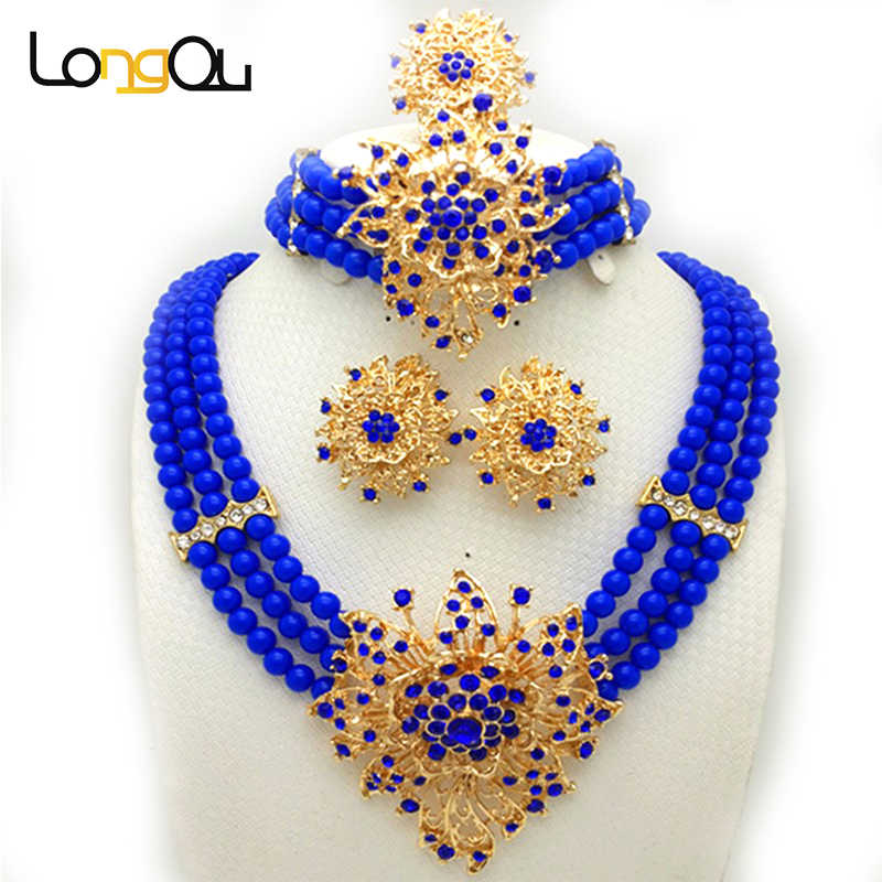 New Wedding African Jewelry Sets for women fashion jewelry 2018 Gold-color Nigerian Beads Jewelry Set Necklace ring earrings