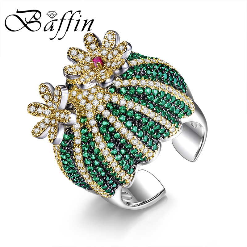 BAFFIN Cactus Ball Maxi Ring Party Accessories for Women Statement Jewelry Cocktail Ring High Quality Green Crystal From Austria baffin crystal aurore boreale page 2