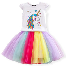 Fancy Baby Girl Unicorn Dresses Princess Girls Birthday Party Dress Up Costume Kids Tutu Gown Clothing Children Summer Clothes(China)
