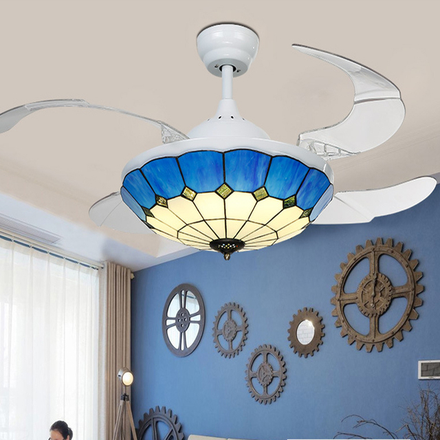 Fine Blue And White Fan Lamp Shade Ceiling Light Fans With Led Hidden Blades Restaurant Bedroom Modern