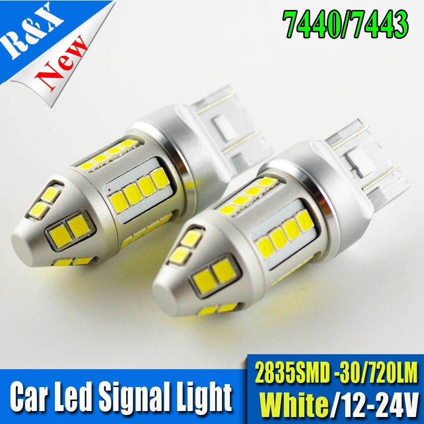 2x High Power 2835 30 Chip T20 7443 7440 W21W LED Bulbs Car Reverse Lights Signal Backup DRL Lights 720LM White/Amber