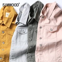 SIMWOOD Denim Jacket Men Fashion 100% Cotton Trucker Jackets Slim Fit Embroidery Chest Pocket 4 Colors Autumn Coats 180468