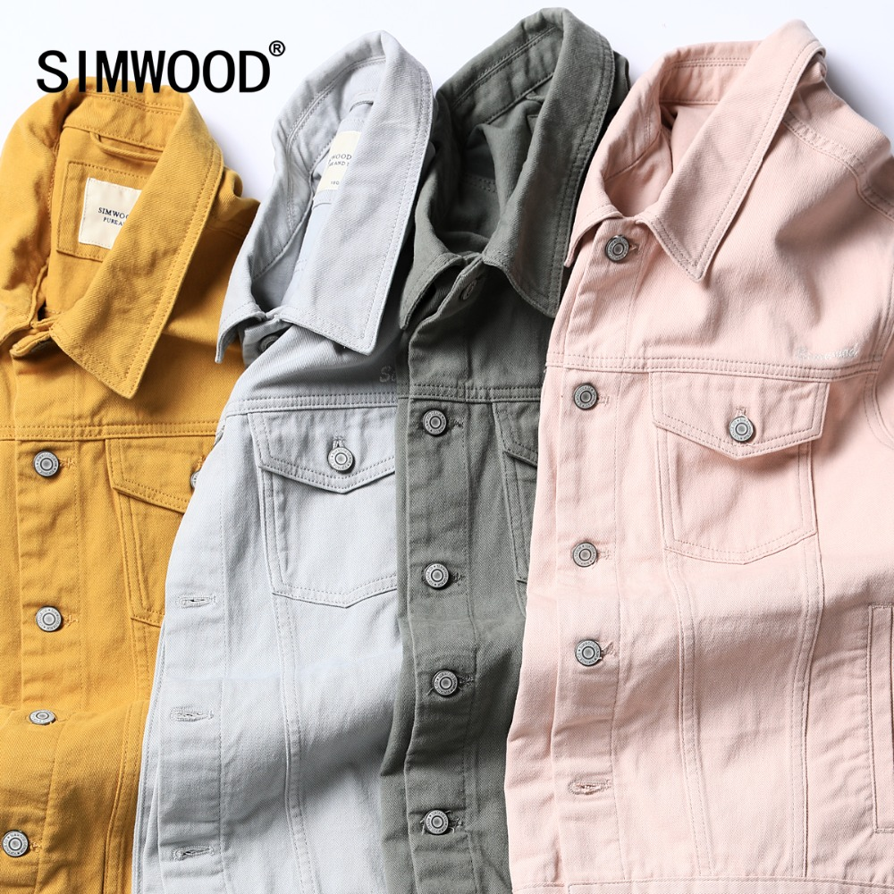 SIMWOOD Denim Jacket Men Fashion 100% Cotton Trucker Jackets Slim Fit Embroidery Chest Pocket 4 Colors Spring Coats 180468