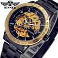 WINNER Men Luxury Brand Stainless Steel Skeleton Retro Classic Watch Automatic Mechanical Wristwatches Gift Box Relogio Releges
