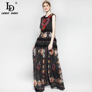 Image 2 - Robe longue Vintage pour femmes, tenue tendance, longue au sol, sans manches, imprimé Floral de roses, mode pour femmes