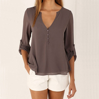 2017 New Product Women Deep V Neck Buttoned Back High Low Asymmetric Loose Casual Blouse Shirt