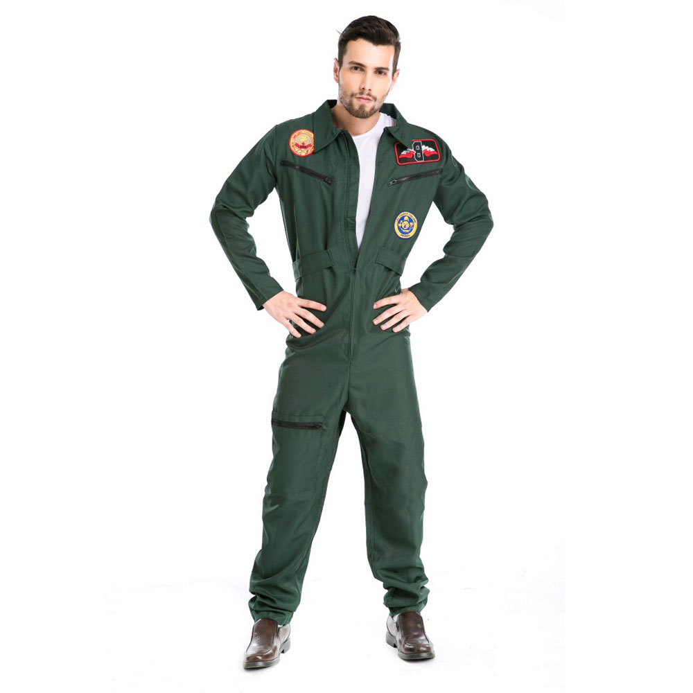 Umorden Halloween Costumes Adult Pilot Costume Uniform Fancy Wing Man Cosplay Costumes Aviator Flight Suit for Men