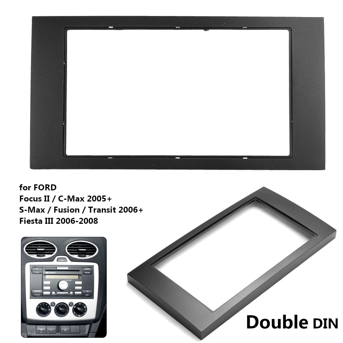 2 Din Car Stereo Radio Fascia Panel Dash Mount Install Trim Kit for Ford/Focus II/C-Max/S-Max Fusion Transit for Fiesta III 2005 image