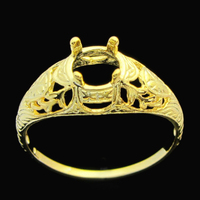 HELON 5.5-6mm Round Cut Art Nouveau Vintage Semi Mount Ring Solid 10k Yellow Gold Engagement Wedding Ring For Women's Jewelry