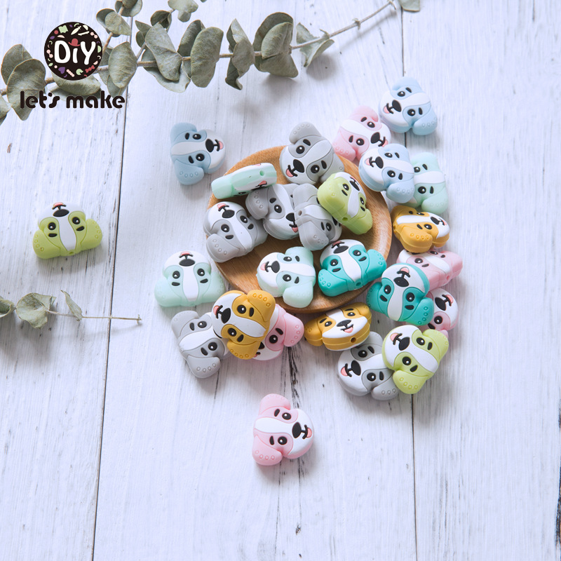 50pcs Silicone Dog Beads Cartoon Animals Teething For Baby Product Diy Accessories Pacifier Clip Making Baby Teether Let's Make