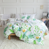 Green Plants Duvet Cover Set Twin Queen King Size 100 Cotton Bedding Sets Leaves Printed Bed