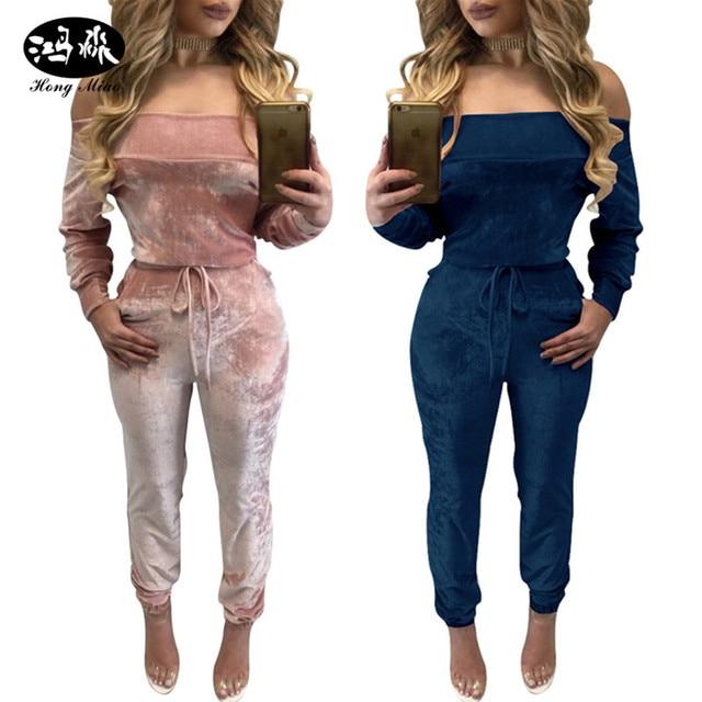 10b11d116df 2018 elegant Off Shoulder Velvet Jumpsuit Women sexy Overalls Casual  Drawstring Long Pants Ladies blue pink Jumpsuits Romper