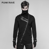 PUNK RAVE New Punk Rock Black Long Zipper Turtleneck Men T Shirt Gothic Fashion Casual Tees Cool Elastic Knitted Shirt