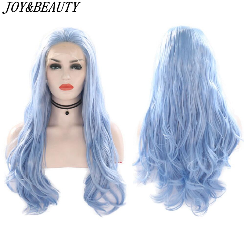 JOY&BEAUTY Synthetic Lace Front Wig Sky Blue Beauty Long Wavy High Temperature Fiber Lace Front Wigs For Women Wigs