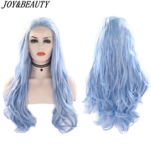 JOY&BEAUTY Synthetic Lace Front Wig Sky Blue Beauty Long Wavy High Temperature Fiber Lace Front Wigs For Women Wigs long wavy hand tied swiss lace front blue party wig synthetic