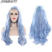 JOY&BEAUTY Synthetic Lace Front Wig Sky Blue Beauty Long Wav