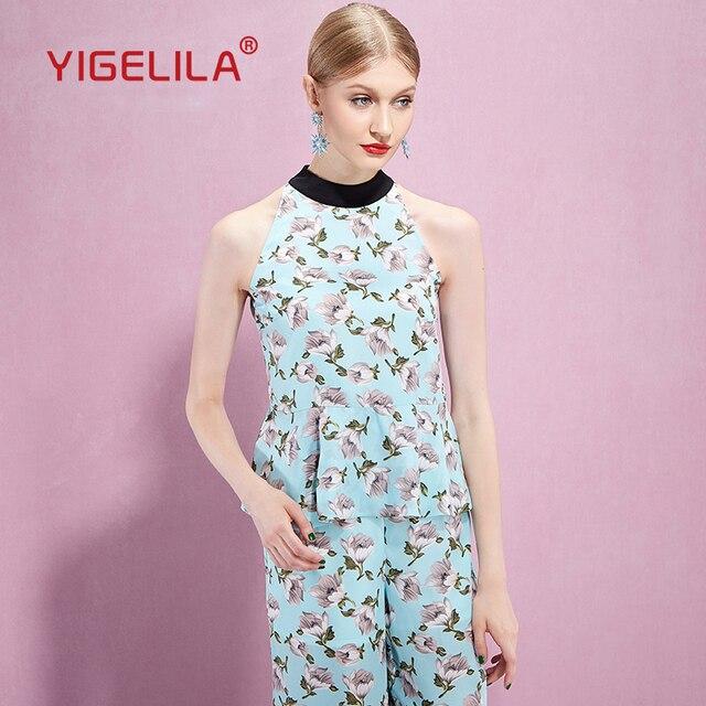 9f5ce802841 2015 yigelila 8152 summer sleeveless hang neck women blouses ruffled women  shirts blouses fashion print female blouse