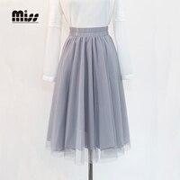 MISS 2016 New Summer Women Tulle Skirt Pleated Long Maxi Lolita Skirts Solid High Waist American