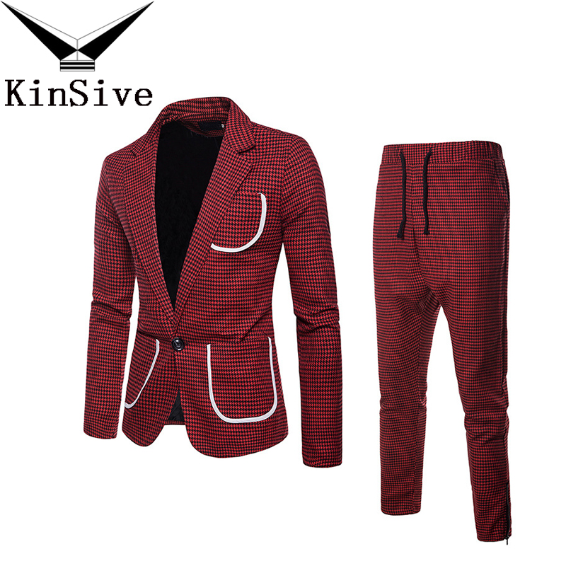 Suit Jacket + Pants 2019 Fashion Slim Fit Red Green Grey Mens Plaid Suits Set Wedding Party Smoking Tuxedo Mens Casual Work Wear
