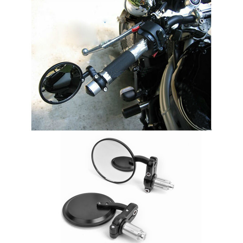 "Black Bar End Mirrors Round 7//8/"" or 1/"" Cafe Racer Custom Motorcycle Motorbike"