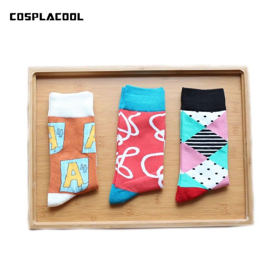 [COSPLACOOL]New Cool popular men socks New creative personality graffiti socks in tube socks Mens Cotton Cartoon autumn winter