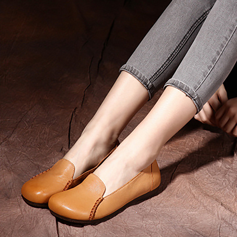 Women Loafers Genuine Leather Lazy Shoes Autumn 2019 Handmade Women Flats Leather Casual Soft Shoes Coffee