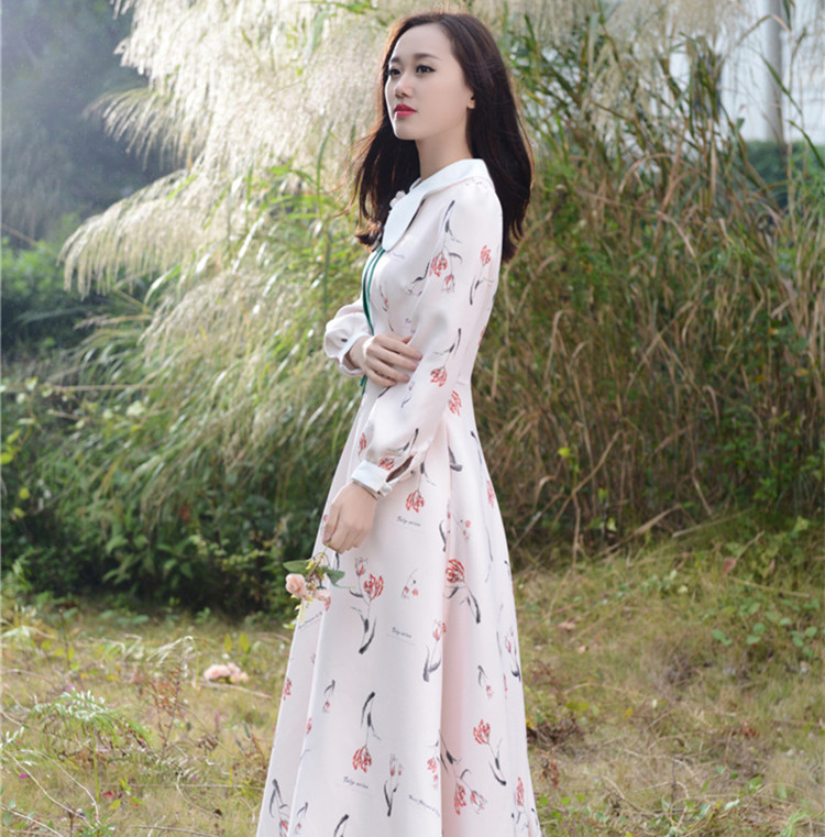 Women Long Love Elegant High-end Fabrics China Brooch Dresses Tulips With Pectoral Flower Dress 8109