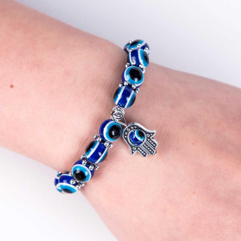 Moda Cor Prata Azul Evil Eye Hamsa Mão de Fátima Palma Pulseiras para Mulheres Contas Cadeia de Jóias Vintage Presentes