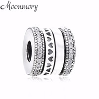 Moonmory 100% Real 925 Sterling Silver Spinning Hearts of Charm Clear CZ Beads Making Women 2018 Autumn Jewelry Bracelet