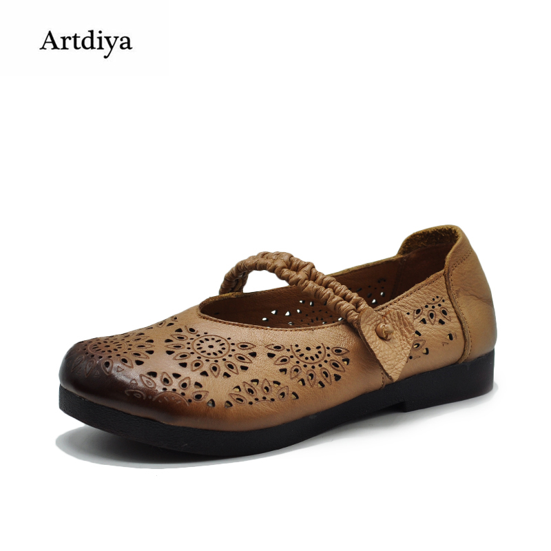 Artdiya Retro Flower Hollow-out Leather Shoes Shallow Mouth Handmade Comfortable Soft Flat Women Shoes Mother Shoes 17886-1 xiniu flats mother shoes women retro flat heel shallow mouth solid color casual shoes flat shoes genuine leather shoes fashion