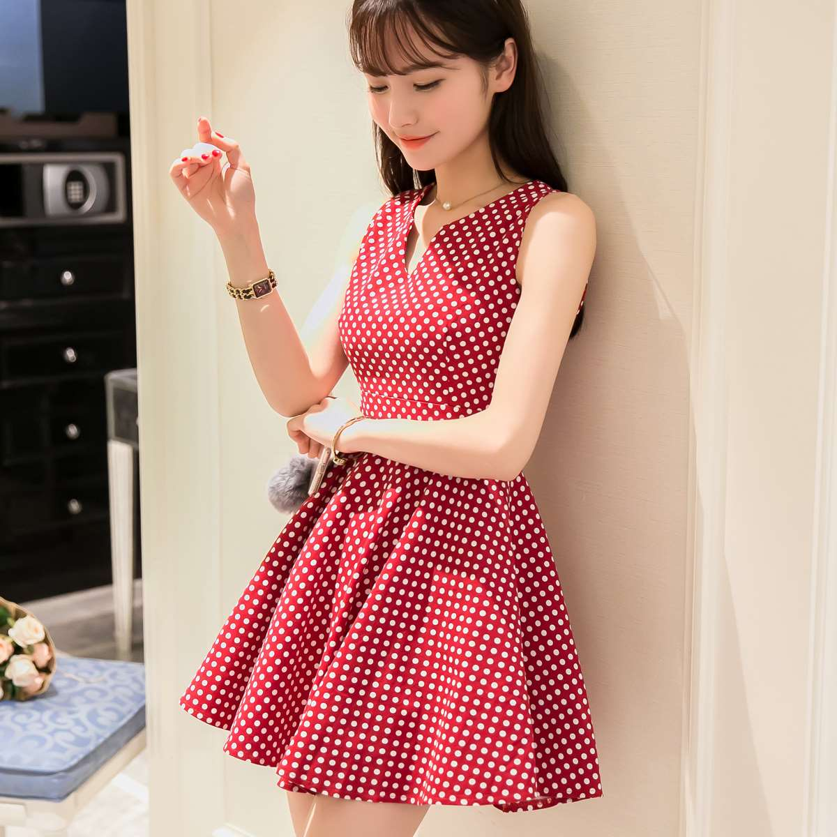 europe and america 2016 lolita small fresh one piece dress slim sweet red black color fashion. Black Bedroom Furniture Sets. Home Design Ideas