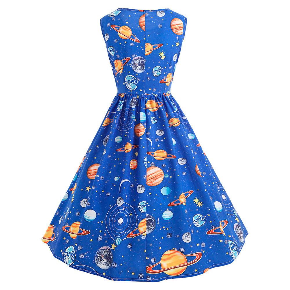 Women Vintage Printing Starry Sky Planet Space Dress Fit and Flare df0abeda1c8e