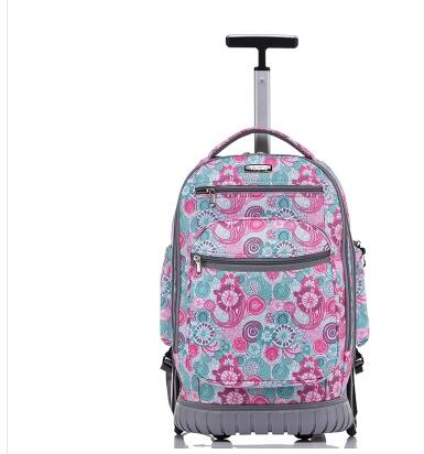 School Rolling backpack 18 inch Wheeled backpack for girls kids School bag On wheels Children Trolley backpack bag for teenagers цена 2017