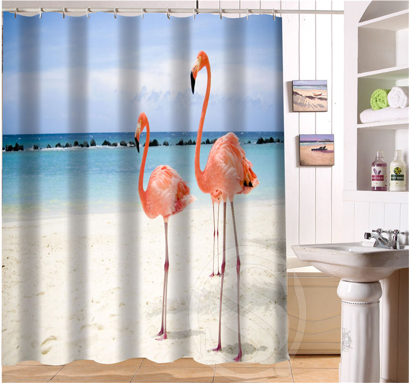 charmhome free shipping beautiful flamingo custom shower curtain more size waterproof fabric shower curtain for bathroom