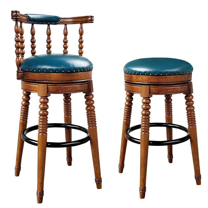 Solid Wood European Style Bar Stool American Retro High Bar Chair Home