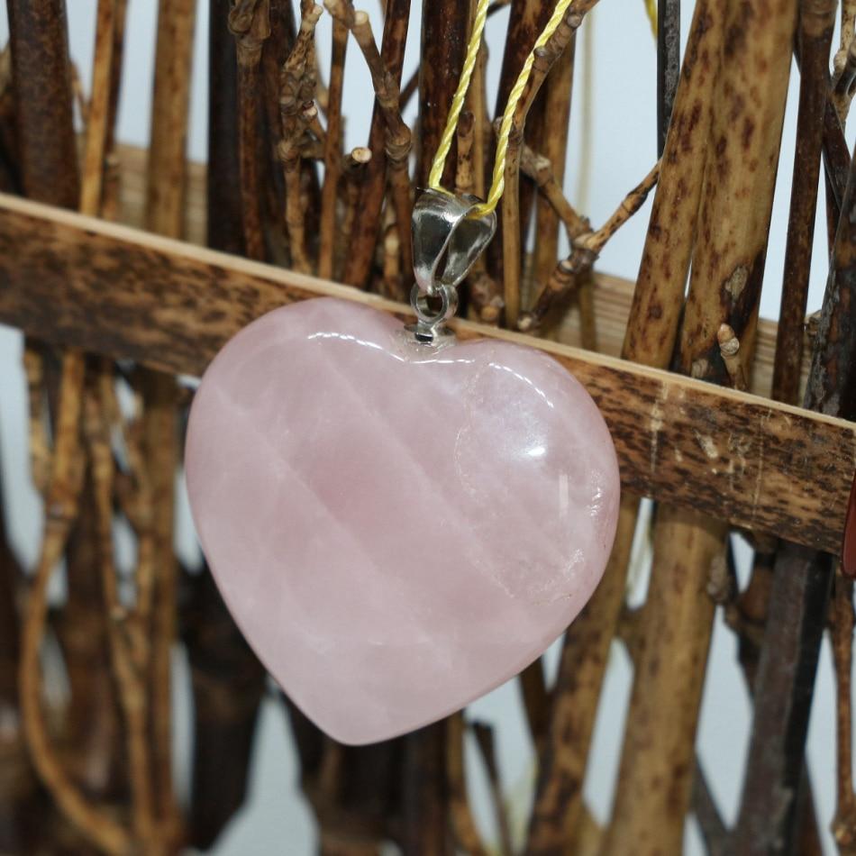 b8d9e157af Nueva llegada encantadora forma de corazón lucky pandent rosa cristal  piedra calcedonia factory outlet envío libre joyas 30mm B1835