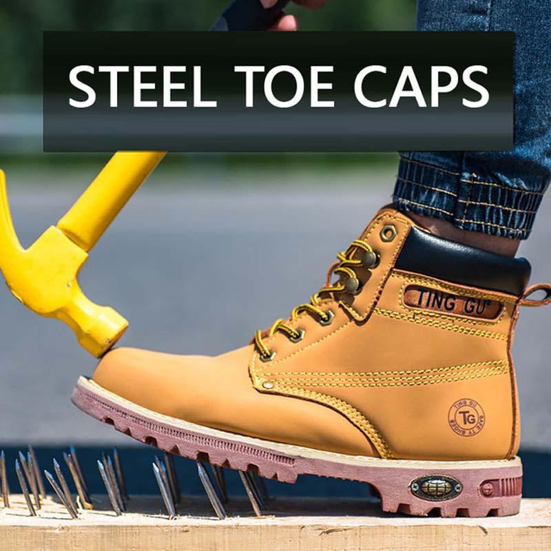 amarelo Dourado Sapatos Botas Segurança Que Biqueira Stab Anti Preto Proteção ouro Alto Quebrar Cano Indestrutível Calçados Cobre Aço De cinza zqIxxwTH