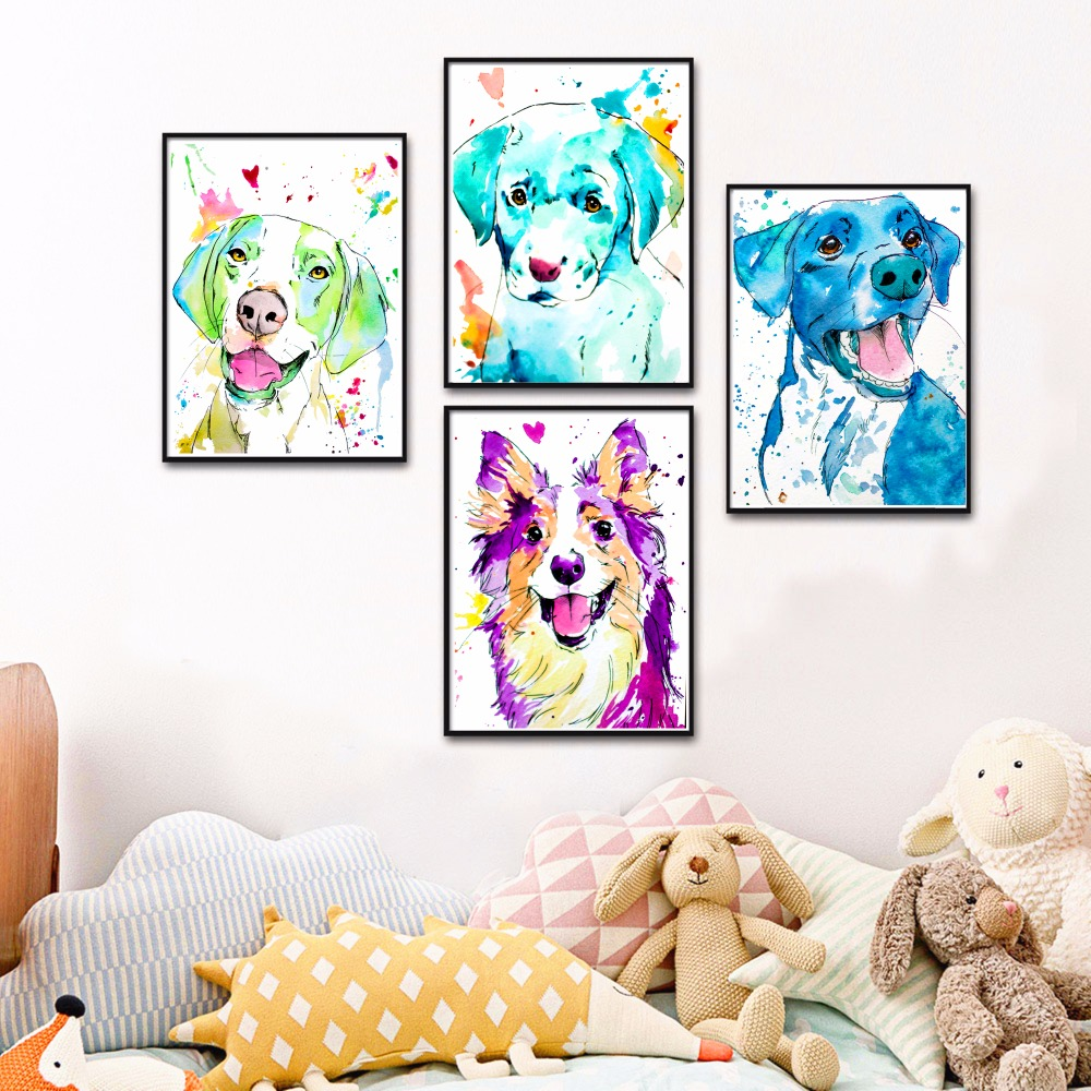 Watercolor Dog Splash Artwork Canvas Art Print Painting Poster Wall Pictures For Living Room Decor Home Decorative No Frame