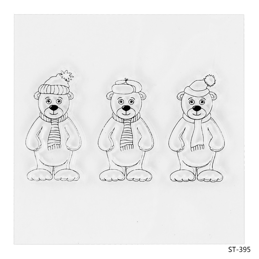 Little Bears Transparent Clear Silicone Stamp/seal for DIY Scrapbooking/photo Album Decorative Clear Stamp Sheets. lovely animals and ballon design transparent clear silicone stamp for diy scrapbooking photo album clear stamp cl 278