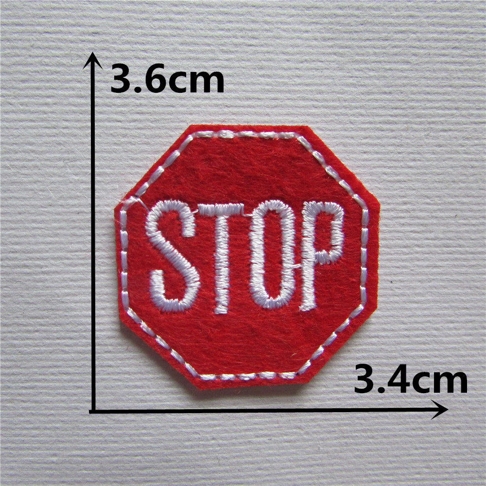 1pcs new style red color stop logo patches stripes for Applique decoration